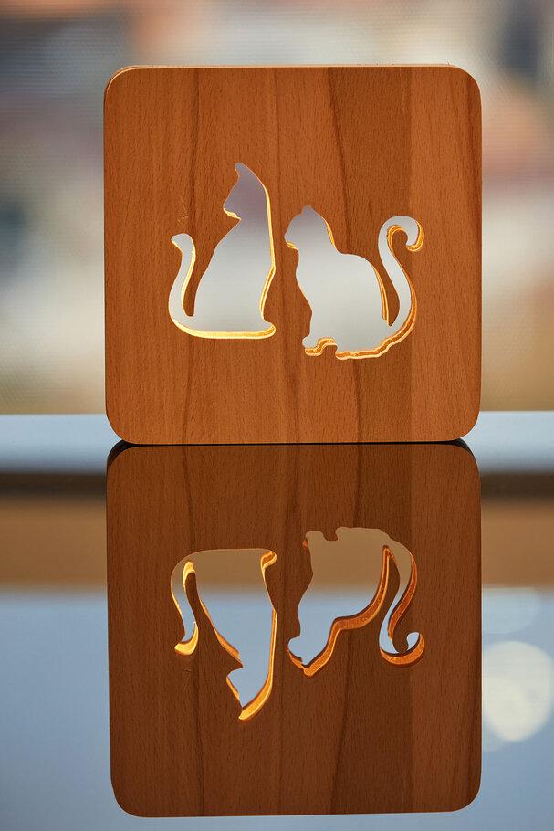 Ahşap Kedi Led Masa üstü Gece Lambası