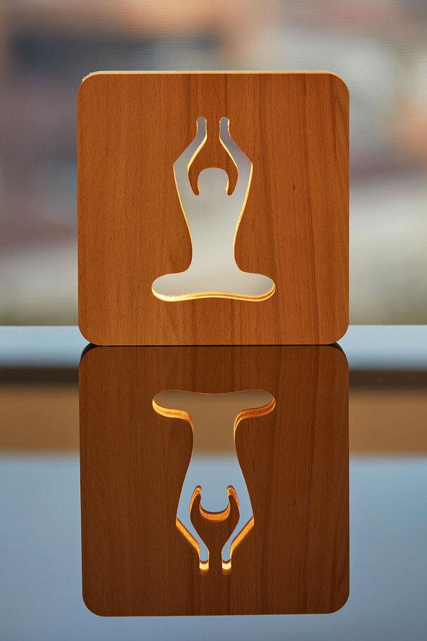 Ahşap Yoga meditasyon Led Masa üstü Gece Lambası