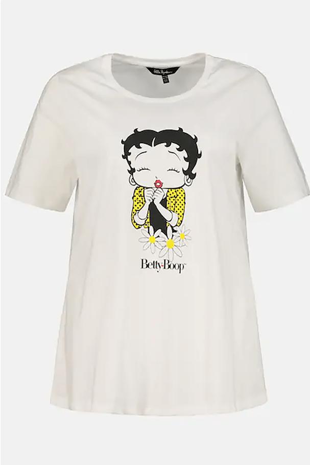 Betty Boop Yuvarlak Yaka Kısa Kollu Pamuklu Tişört