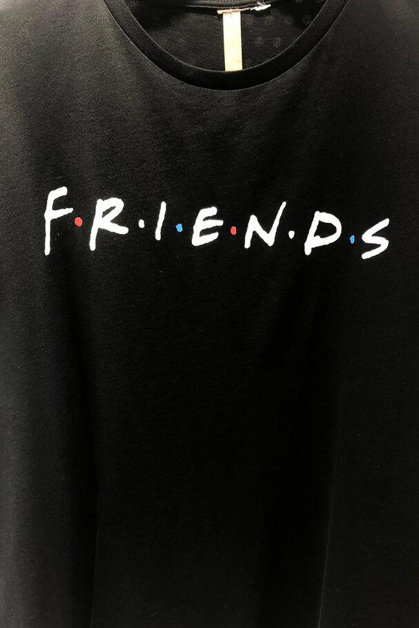 Bisiklet Yaka Friends Baskılı Tişört