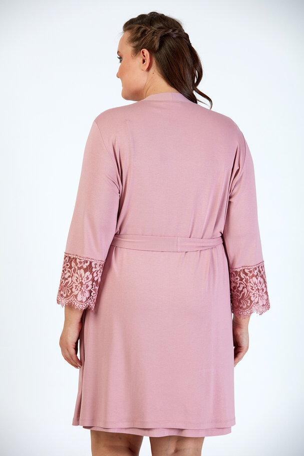 DRESSING GOWN WITH LACE DETAIL