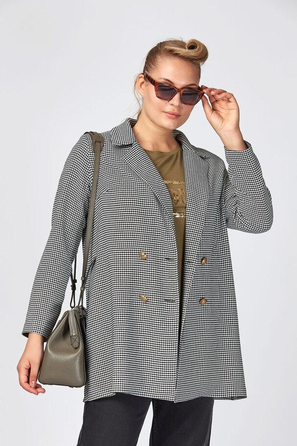 Kazayağı Desenli Blazer Ceket