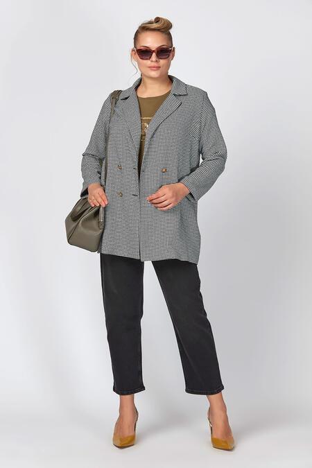 Büyükmoda - Kazayağı Desenli Blazer Ceket (1)