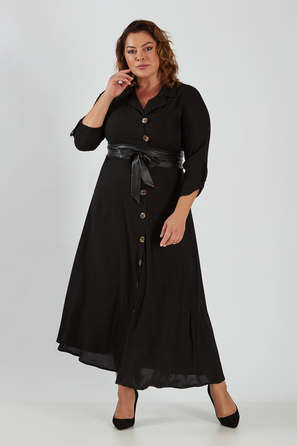 LAPEL COLLAR LONG DRESS