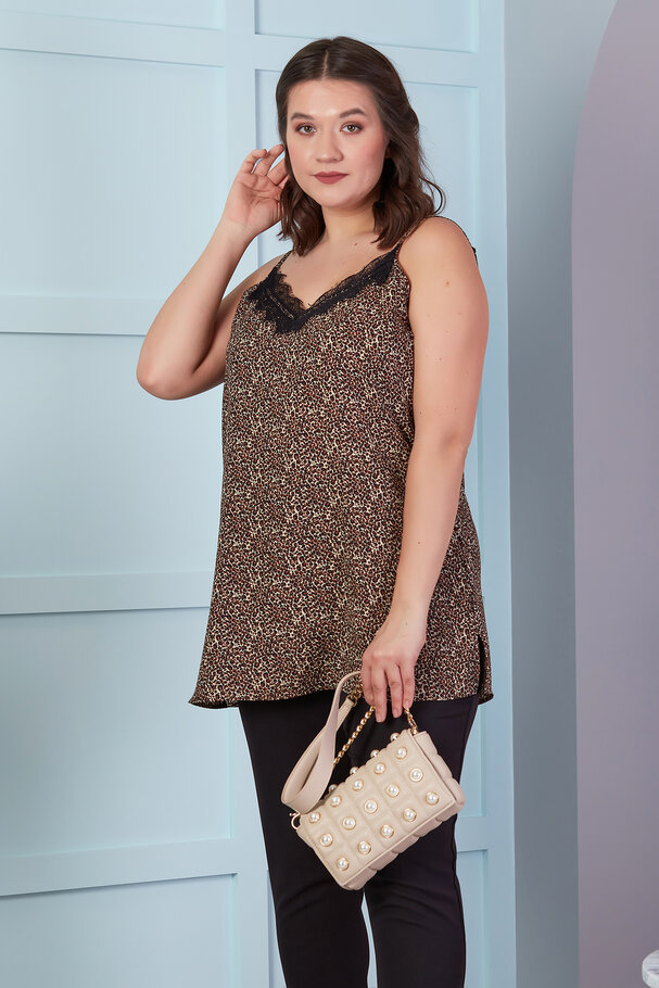 LEOPARD TOP WITH LACE