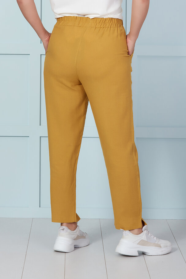 LINEN TROUSERS WITH ELASTIC WAIST-BAND