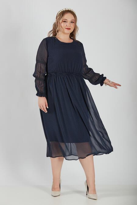 Büyük Moda - PUANTİYE DESENLİ ŞİFON ELBİSE (1)