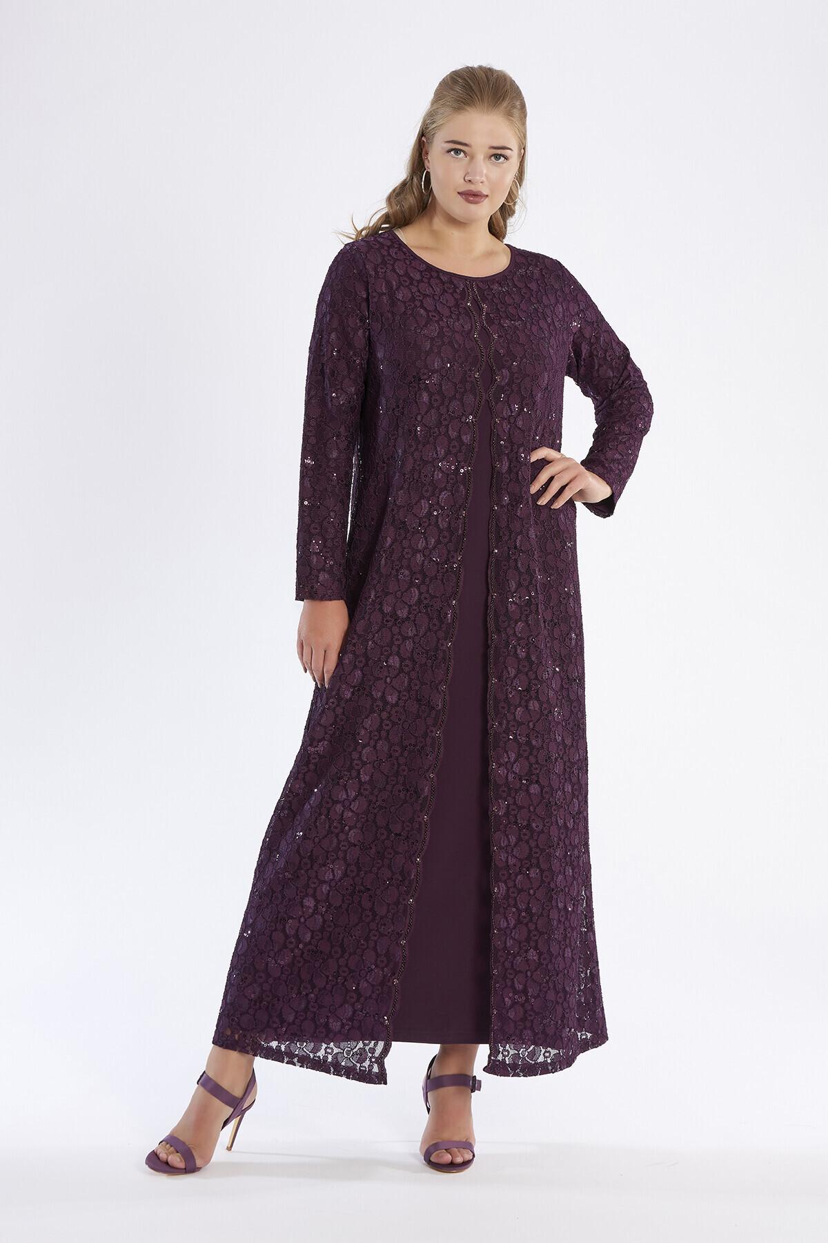 888648f1ead26 Dantelli Uzun Abiye Elbise | Tesettür Abiye Modelleri | Buyukmoda.com