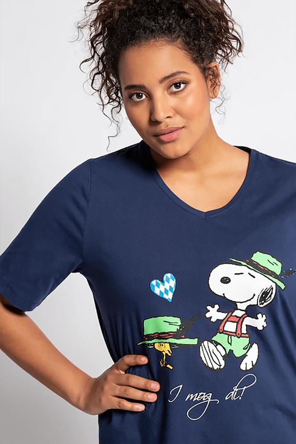 SENİ SEVİYORUM Snoopy Baskı V Yaka Pamuklu Tişört