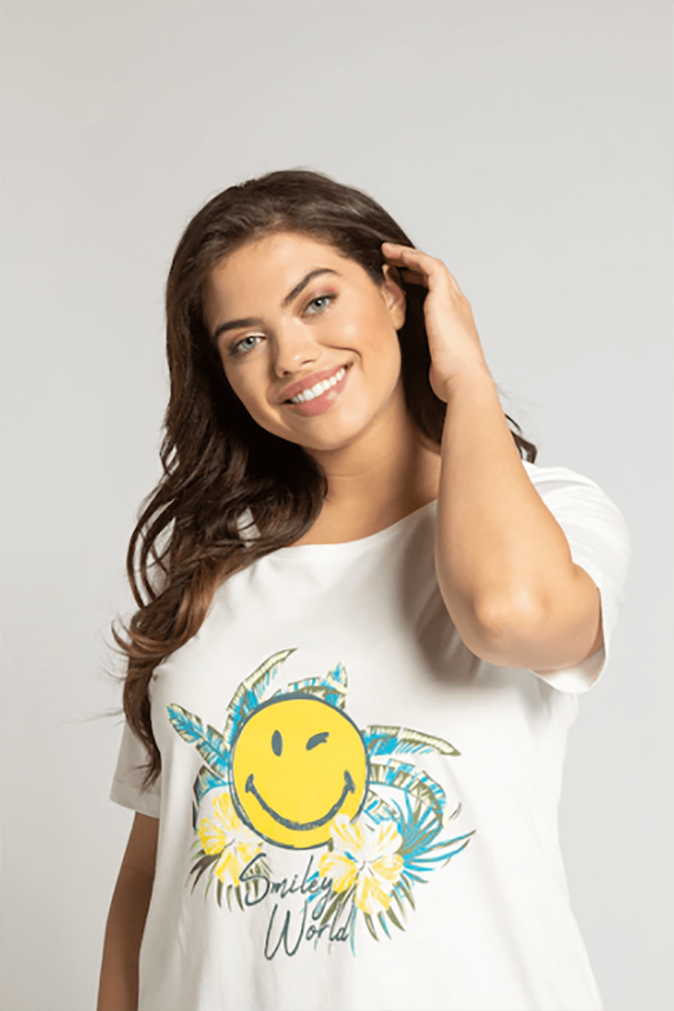 SMILEY WORLD Yuvarlak Yaka Kısa Kollu Tişört