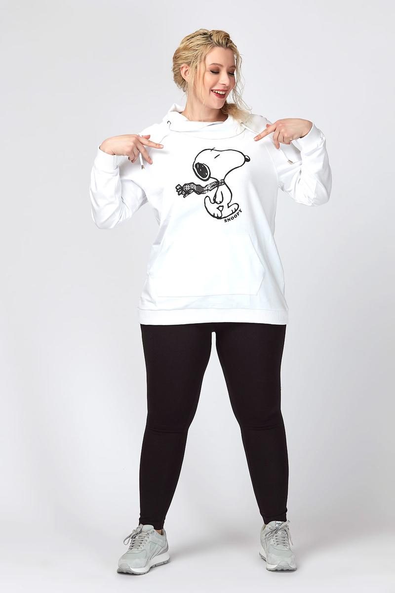 Snoopy Baskı Pamuklu Sweatshirt