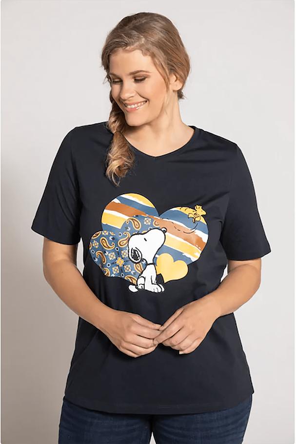 Snoopy Baskılı Kalp V Yaka Kısa Kollu Tişört