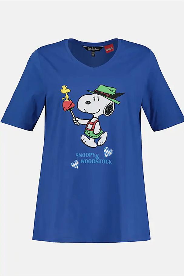Snoopy V Yaka Kısa Kollu Tişört