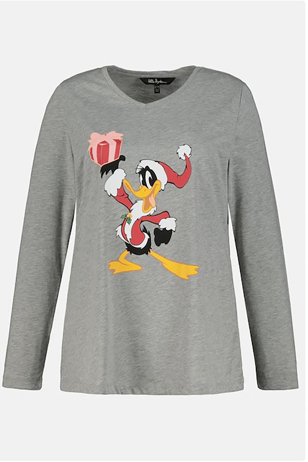 Tatil Daffy Duck V-Yaka Uzun Kollu Tişört