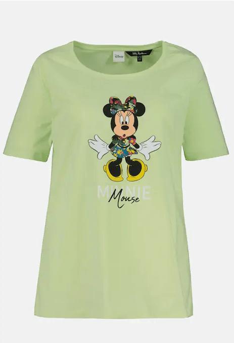Tropikal Görünümlü Minnie Mouse Yuvarlak Yaka Tişört